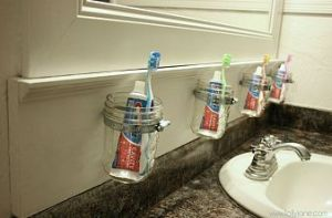 Mason jar toothbrush holders
