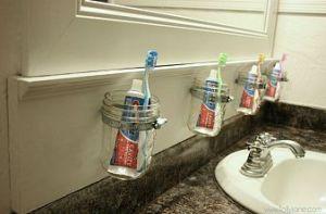 Mason jar toothbrush holders